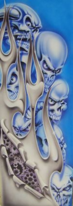 Course - Panel blue skulls & Chrome flame 150