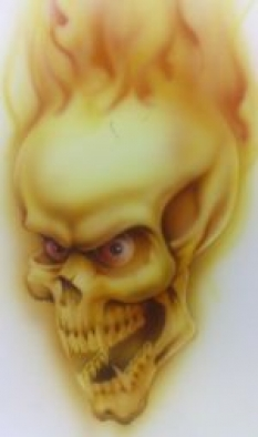 Courses - Student project yellow skull and flame 150