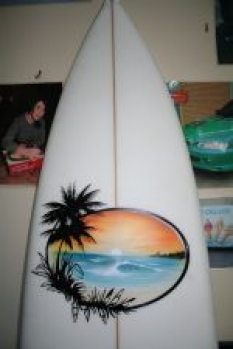 courses - surfboard with beach scene 150