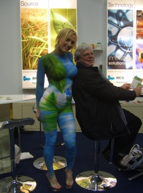 Trade show body painting
