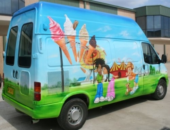 ICE CREAM VAN Airbrushed- Circus themed