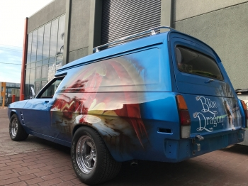 Airbrushed Panel Van - Blue Dragon