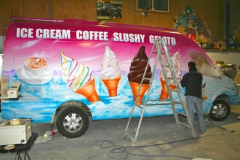 ICE CREAM VAN Airbrushed - in production airbrushing