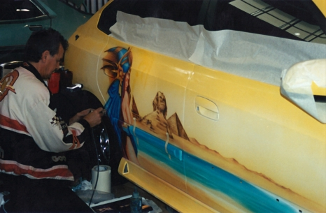 Wayne airbrushing Jo's car 2002