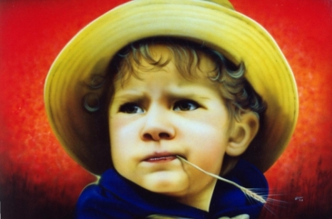 Fine Arts - little boy with straw